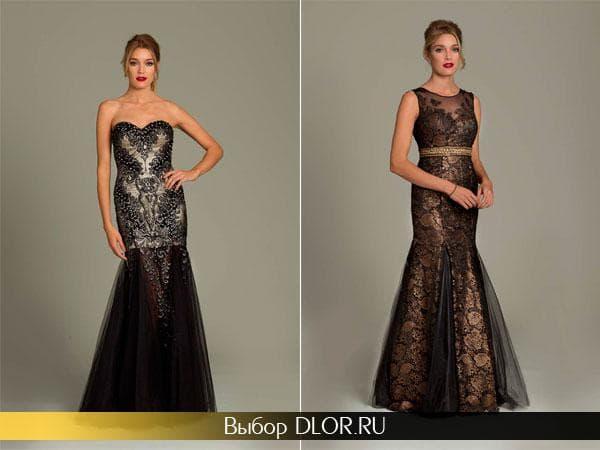 Черно-бежевые платья украшенные кружевом