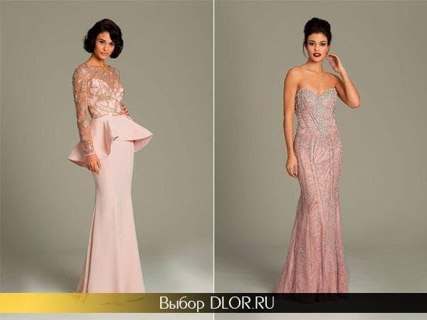 Розовые вечерние платья в пол
