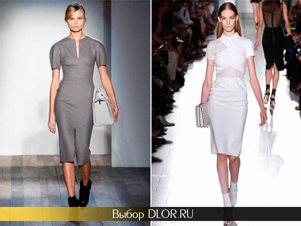 Серое платье-футляр с коротким рукавом и белое с прозрачными вставками