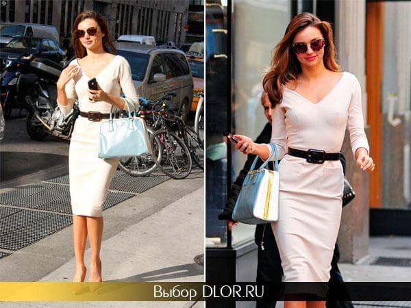 Белое платье с длинным рукавом Миранды Керр