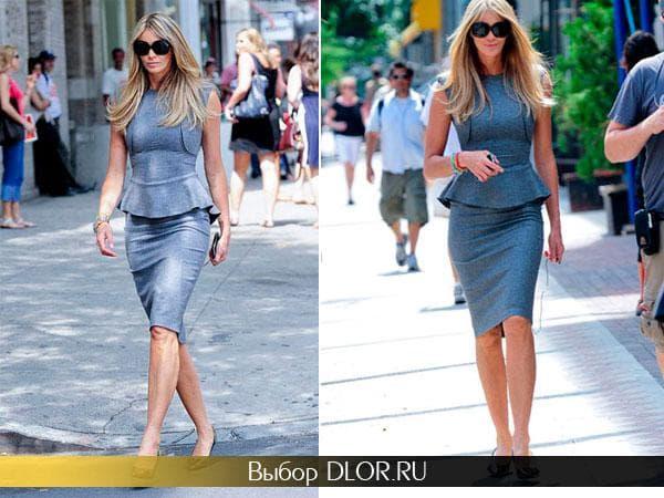 Повседневное платье-карандаш серого цвета  Эль Макферсон