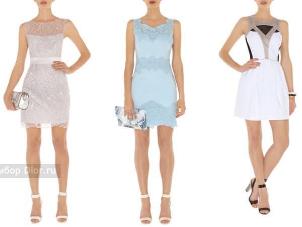 Белое и голубое кружевное платье