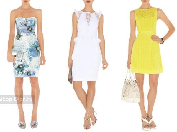 Знаменитые платья: платье-бюстье с цветочным принтом, белый и желтый кружевной сарафан