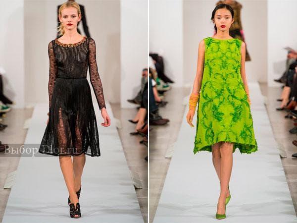 Черное и салатовое платье от Oscar de la Renta