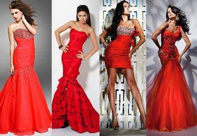 Нарядные красные вечерние платья