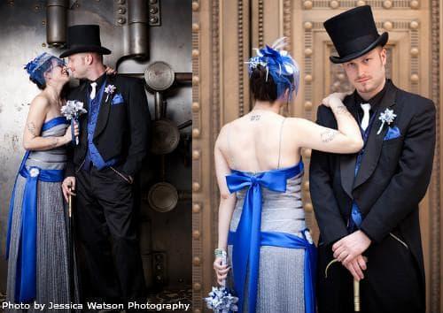 Синий свадебный наряд