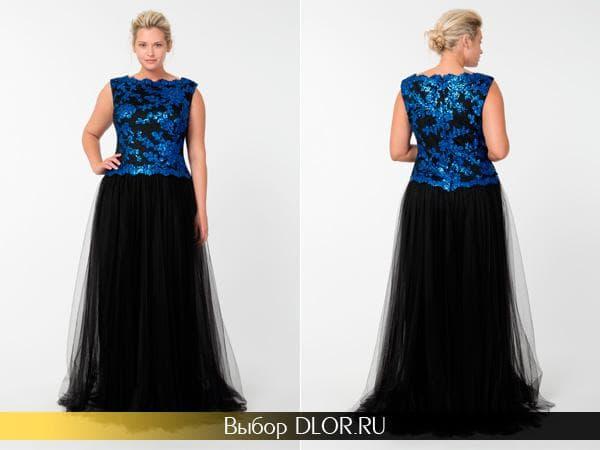 Вечернее платье с длинной пышной юбкой
