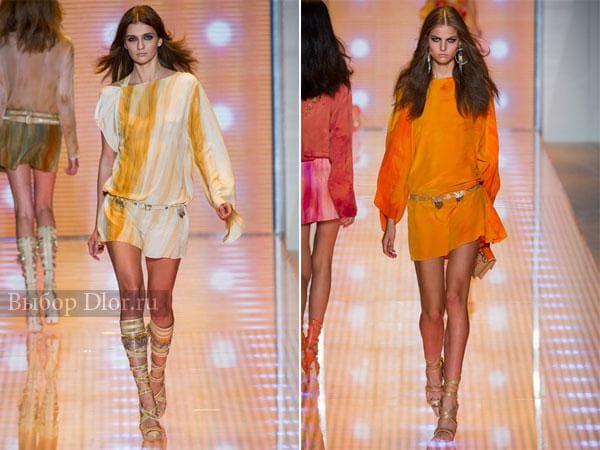 Шелковые платья желтого и оранжевого цвета от Versace