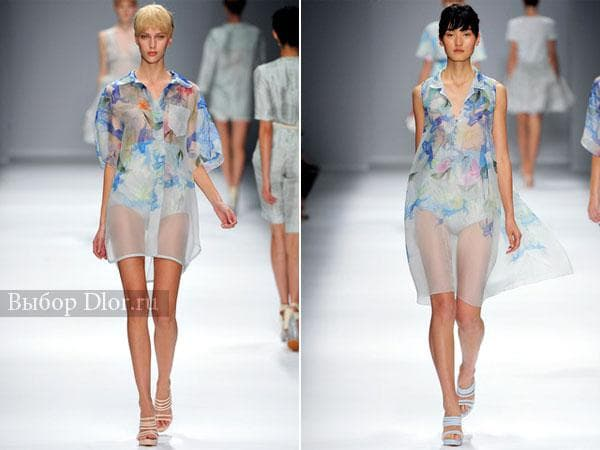 Шифоновые платья-рубашка с цветочным принтом голубого цвета