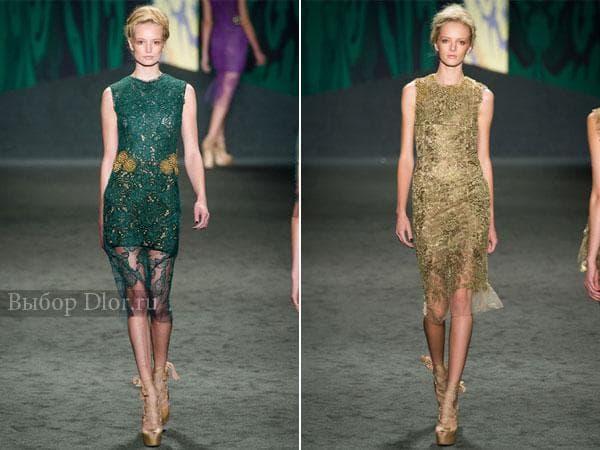 Гипюровые платья средней длины от Vera Wang