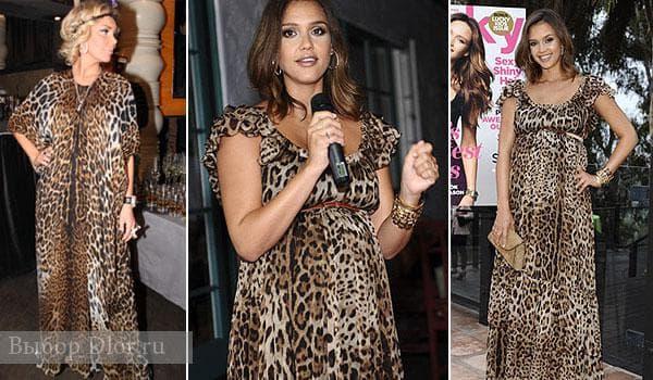 Маша Малиновская и Джессика Альба в леопардовом платье