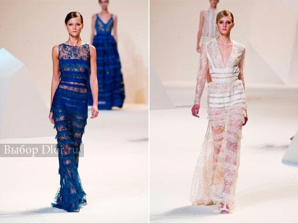 Длинные платья с бахромой синего и белого цвета от Elie Saab