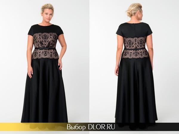 Черное шелковое платье украшенное кружевом на талии
