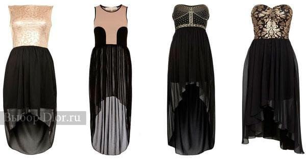 Удлиненные коктейльные платья черного цвета