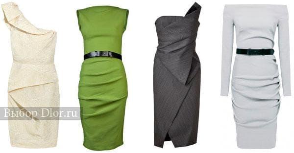 Коктейльные платья строгого фасона средней длины