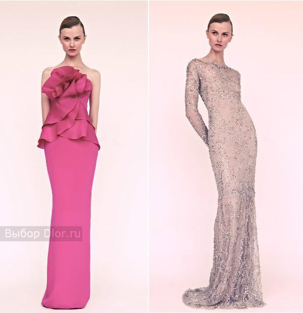 Розовое длинное платье и серое платье обшитое драгоценными камнями