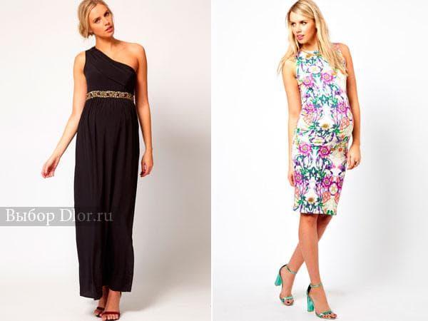 Длинное платье на одно плечо и платье футляр с цветочным принтом
