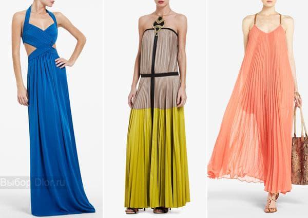 Синие, персиковое и салатово-серое платье