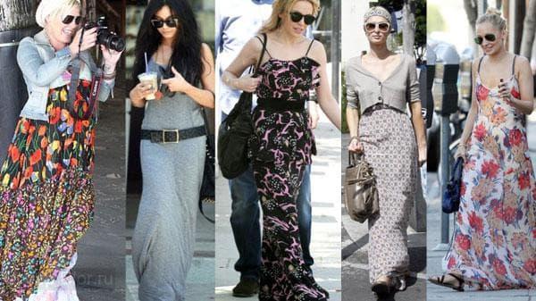Длинные платья на знаменитостях