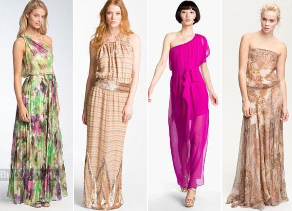 Шифоновые вечерние длинные платья