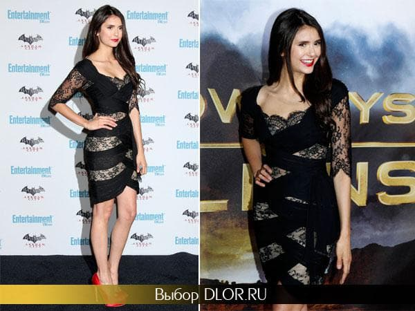 Фото маленького черного платья с кружевными вставками