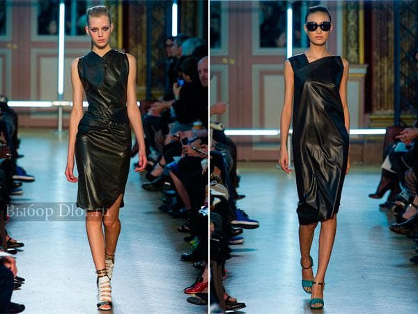 Черные кожаные платья-футляр