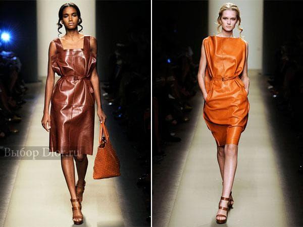 Строгие платья коричневого и оранжевого цвета