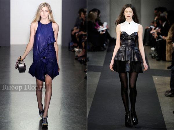 Короткие кожаные платья синего и черного цвета