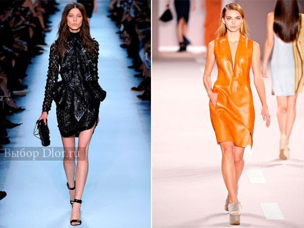 Новогодние варианты кожаных платьев