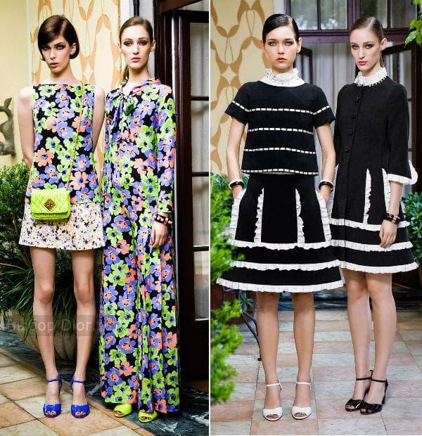 Платья Moschino с ярким цветочным принтом и в черно-белом цвете