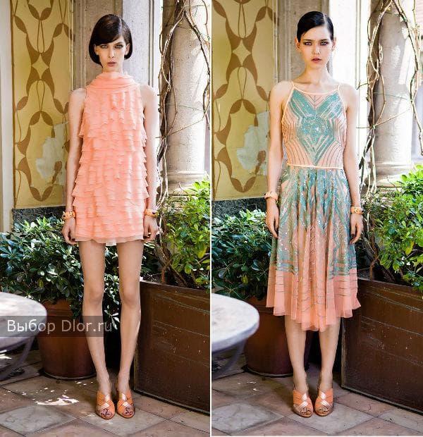 Шифоновые платья персикового цвета