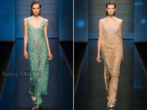 Фото платьев украшеных сеткой от Alberta Ferretti