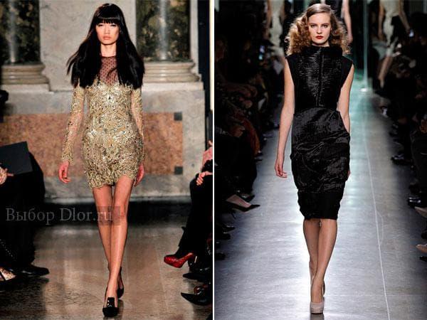 Золотое короткое платье и платье-футляр без рукавов
