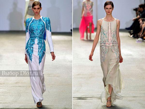 Длинные платья с блестками и пайетками