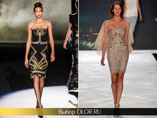 Стильные платья-футляр украшенные драгоценными камнями