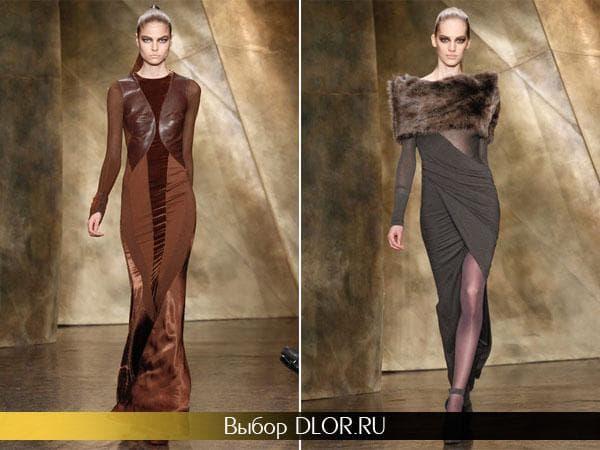 Коричневое длинное платье и серое с разрезом и меховым верхом