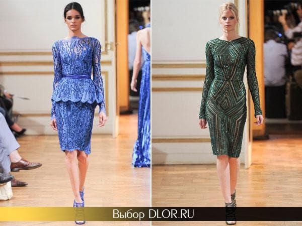 Синее платье с баской и темно-зеленое с блестками