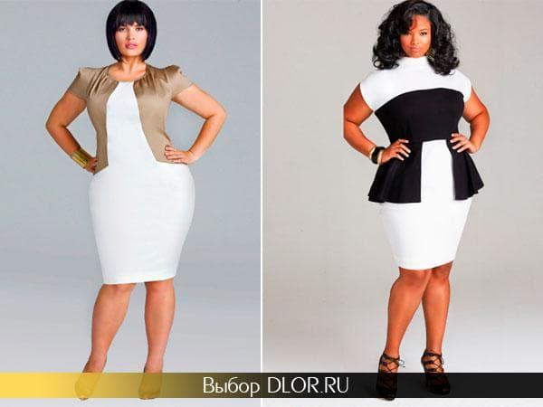 Облегающие белые платья с контрасными вставками