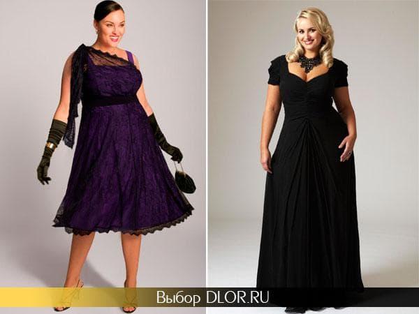 Фиолетовое платье с гипюром и черное вечернее в пол