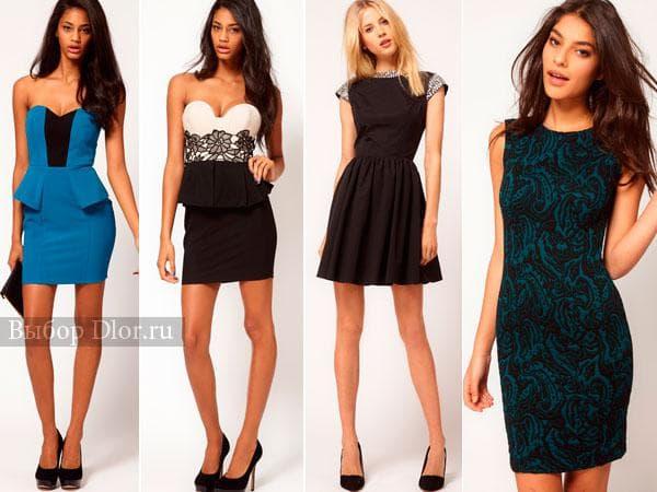 Короткие платья на Новый Год синего, черного и бирюзового цвета