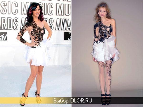 Черно-белое платье Кэти Перри
