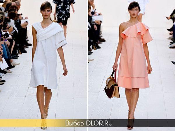 Белые и персиковые повседневные платья