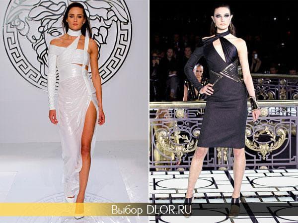 Легкие платья с одним рукавом белого и черного цвета