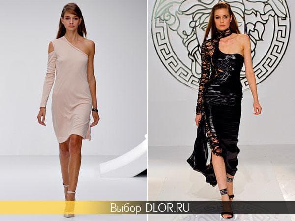 Бежевое платье средней длины и черное в пол