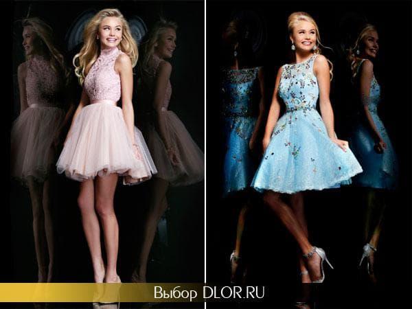 Розовое и голубое короткое платье с пышной юбкой