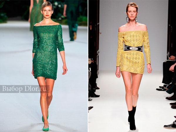 Зеленое с пайетками и желтое платье с длинным рукавом и поясом