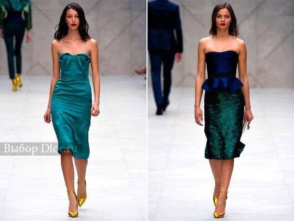 Стильные строгие платья с открытыми плечами