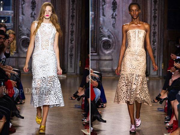 Кожаные платья длиною ниже колена от Giles