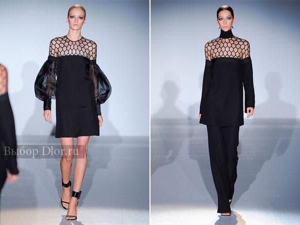 Коктейльные черные платья с сеткой на плечах