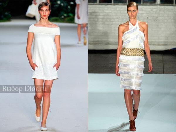 Фото белых платьев - строго кроя и с бахромой